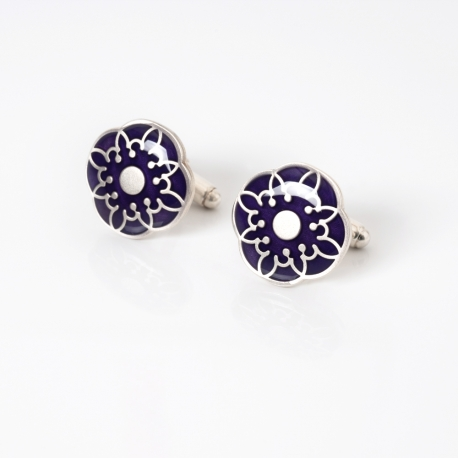 purple silver cufflinks