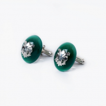 Silver cufflinks whit lily and green agate