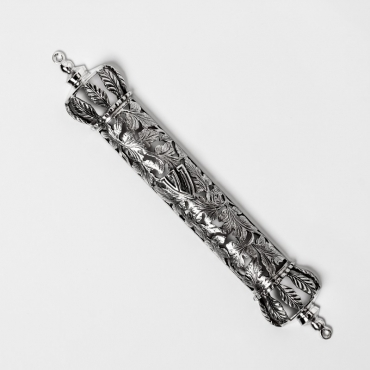 silver mezuzah with leaves