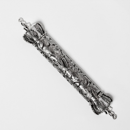 Silver mezuzah whit leaves