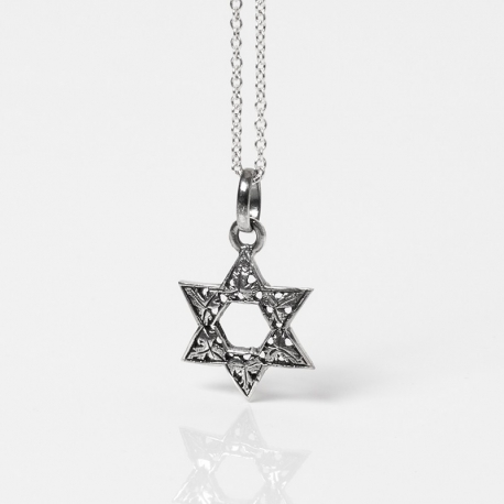 silver Star of David with leaves