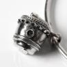 Silver drum chain bracelet