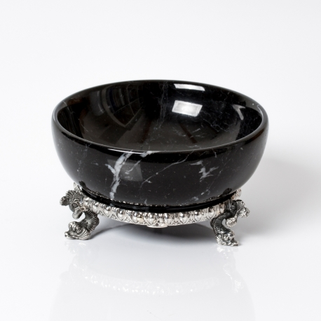 black marble salt cellar with silver base