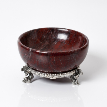 Saliera marmo rosso e argento