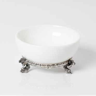 White marble salt cellar with silver base
