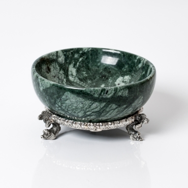 Green marble salt cellar with silver base