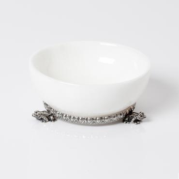 """Saliera marmo bianco e base argento """"Rana"""""""