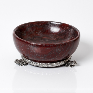 Redmarble salt cellar with silver base