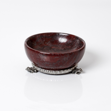 Red marble salt cellar with silver base
