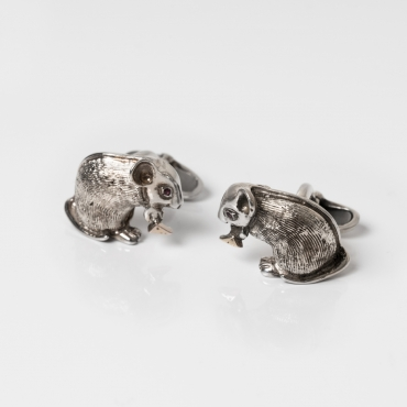Silver cufflinks little mouse