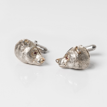 Silver cufflinks bear