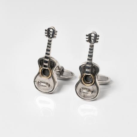 Silver cufflinks guitar